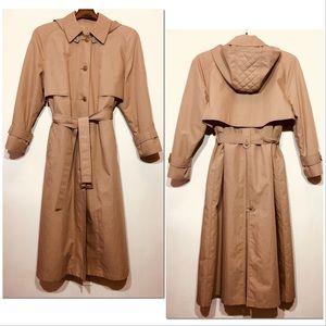 London Fog Trench Coat Raincoat Hood Tan 12 REG